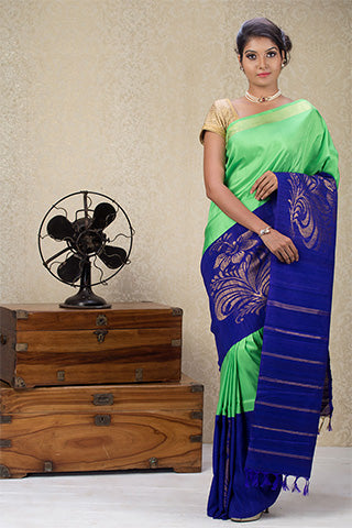 Green & Blue Pure Kanchipuram Handloom Silk Saree With Pure Zari