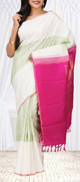 White Half & Half Pure Kanchipuram Silk Saree With Pure Zari