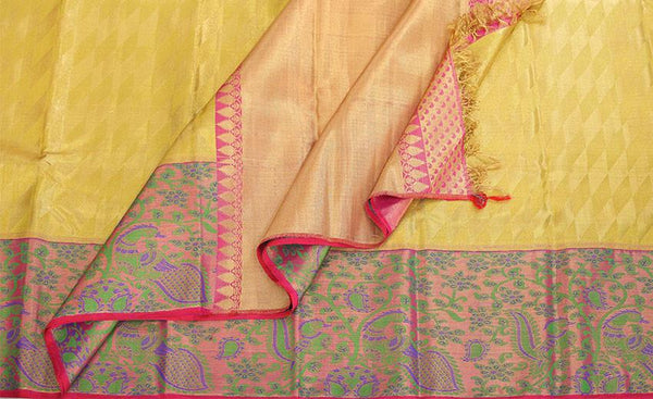 Yellow & Pink Pure Kanchipuram Handloom Bridal Silk Saree With Pure Zari
