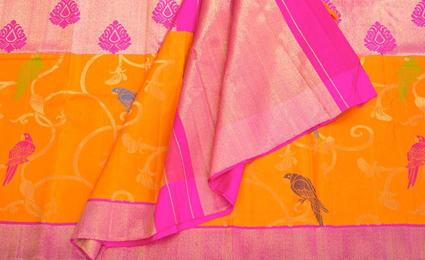 Orange & Magenta Pure Kanchipuram Handloom Bridal Silk Saree With Pure Zari