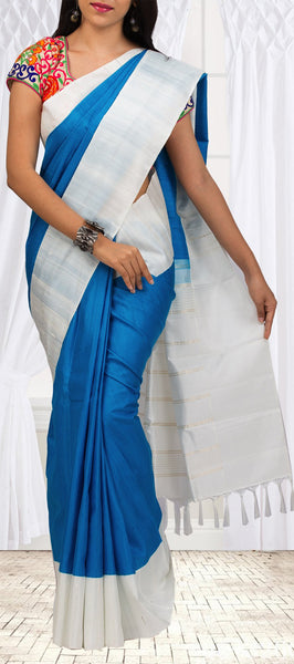 Blue & White Simple Kanchipuram Silk Sarees