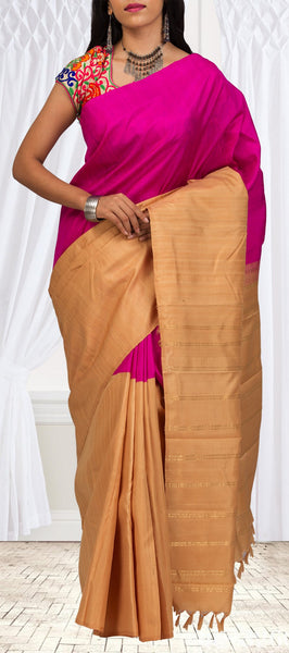 Pink & Beige Blend'n Trend Half-And-Half Silk Saree
