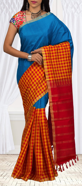 Blue & Red Half-And-Half Simple Kanchipuram Silk Sarees
