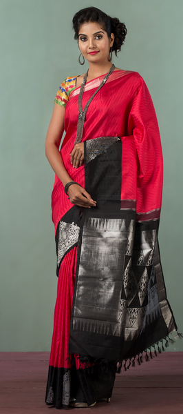 Red & Black Pure Kanchipuram Handloom Silk Saree With Pure Zari