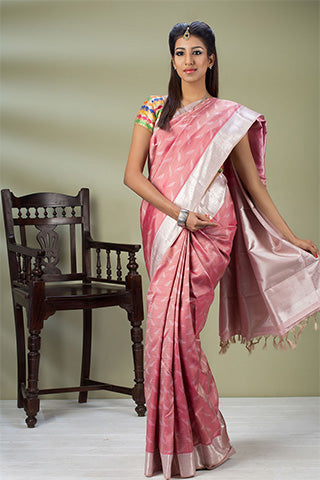 Pink & White Pure Kanchipuram Silk Saree Woven With Pure Zari