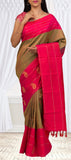 Brown & Pink Pure Handloom Kanchipuram Silk Sarees