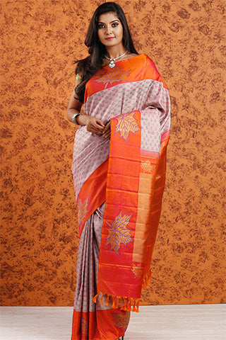 White & Orange Pure Kanchipuram Handloom Silk Saree With Pure Zari