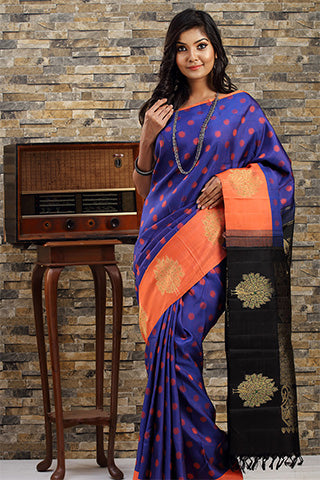 Blue & Orange Pure Kanchipuram Handloom Silk Saree With Pure Zari