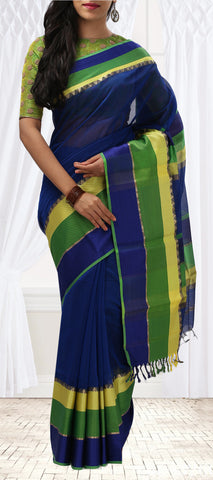 Ink Blue, Green & Yellow Summer Cotton Saree