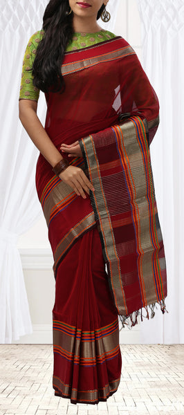 Maroon Summer Cotton Saree With Threadwork Borders & Contrasting Blouse