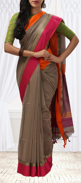 Taupe Summer Cotton Saree With Orange & Pink Borders