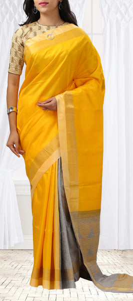Yellow & Grey Soft Silk Saree