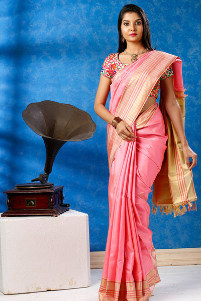 Light Pink & Beige Pure Kanchipuram Handloom Silk Saree