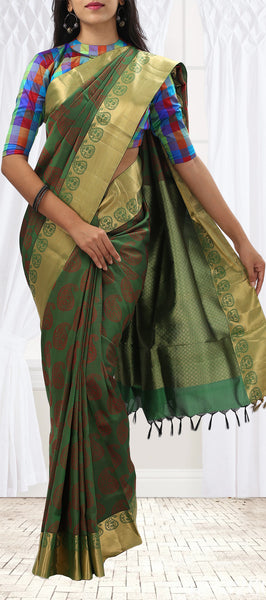 Green Lightweight Kanchipuram Silk With Half-Fine Zari