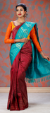 Concert Collection- Maroon & Turquoise Blue Pure Kanchipuram Handloom Silk Saree With Pure Zari