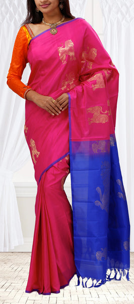 Pink & Blue Lightweight Kanchipuram Silk Saree