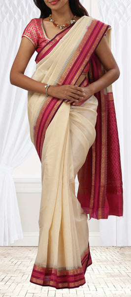 Cream & Magenta Lightweight Silk Saree with Half-Fine Zari