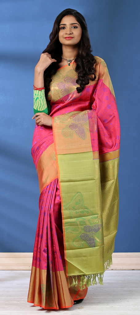 7bfb0a6ec0 Dark Pink & Pista Green Pure Kanchipuram Handloom Silk Silk Saree ...