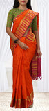 Orange Lightweight Kanchipuram Silk Saree With Half-fine Zari
