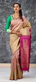 Beige and Dark Pink Pure Kanchipuram Handloom Silk Saree With Pure Zari