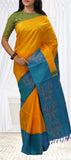 Yellow and Blue Pure Handloom Kanchipuram Silk Saree With Half-Fine Zari