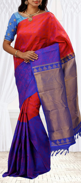 Red & Blue Half-And-Half Lightweight Kanchipuram Silk Saree