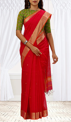 Zari & Red Silk Cotton Saree