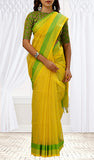 Lemon Yellow & Green Silk Cotton Saree
