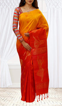 Mango Yellow & Red Silk Cotton Saree