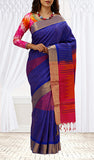 Purple, Magenta & Pink-Red Soft Silk Saree