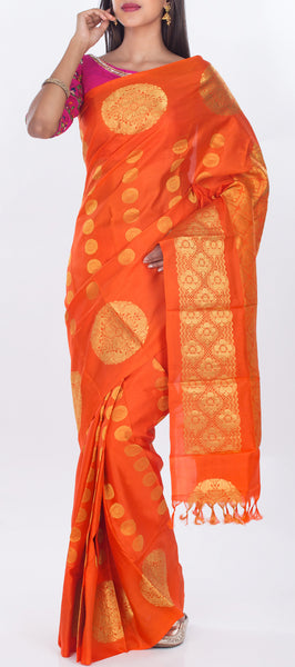 Orange Lightweight Kanchipuram Pure Silk Saree