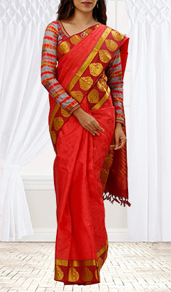 Scarlet & Red Lightweight Kanchipuram Silk Saree