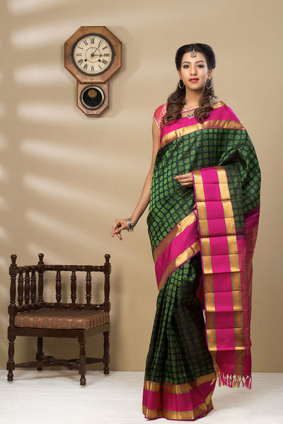 Green & Pink Kanchipuram Handloom Pure Silk Saree With Pure Zari