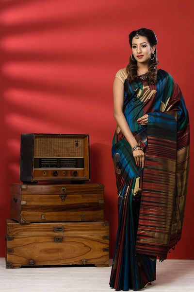 Multi-coloured Kanchipuram Handloom Pure Silk Saree With Pure Zari