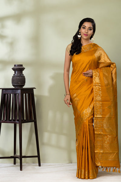 Mustard Kanchipuram Pure Silk Handloom Saree With Pure Zari