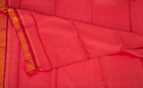 Bright Red Pure Kanchipuram Handloom Silk Saree With Half-fine Zari
