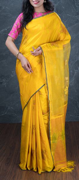 Yellow Softsilk Saree with Kora Pallu