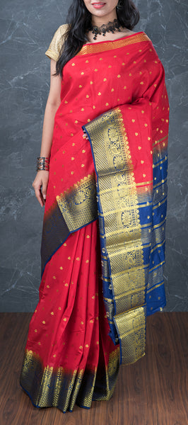 Red Semi Benarasi Saree