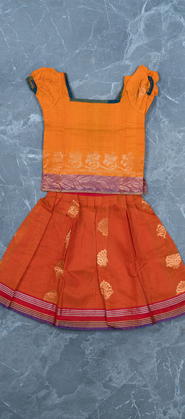 Orange Blue Silk Cotton Kids Paavadai