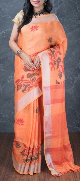 Musk Melon Orange Linen Saree