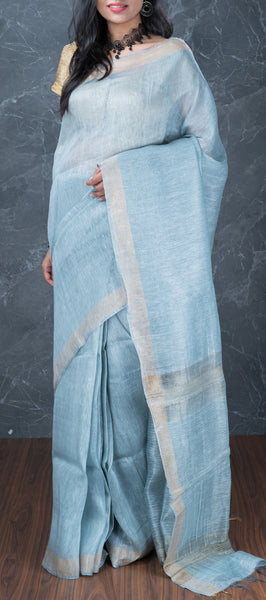 Sky Blue Linen Saree