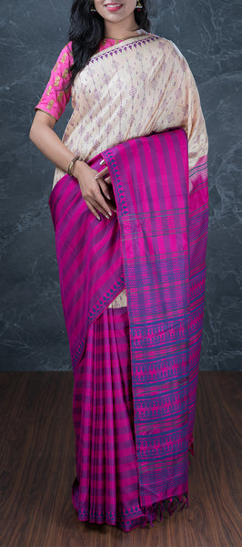 Beige Soft Silk Saree with Block Prints