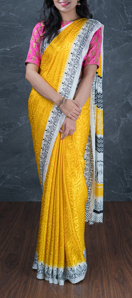 Yellow Synthetic Saree