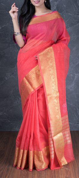 Pink Semi Kora Silk with Jute Finish