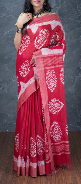 Kum Kum Red Linen Saree