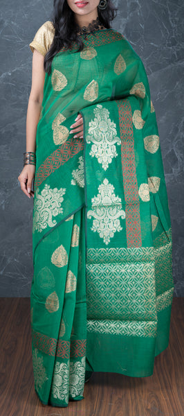 Jade Green Semi Silk Cotton Saree