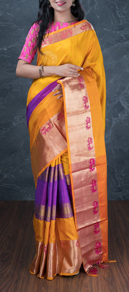 Mustard Softsilk Saree