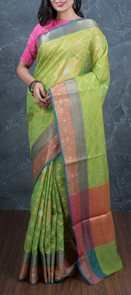 Parrot Green Semi Patola Saree