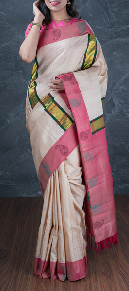 Beige Lightweight Kanchipuram Silk Saree