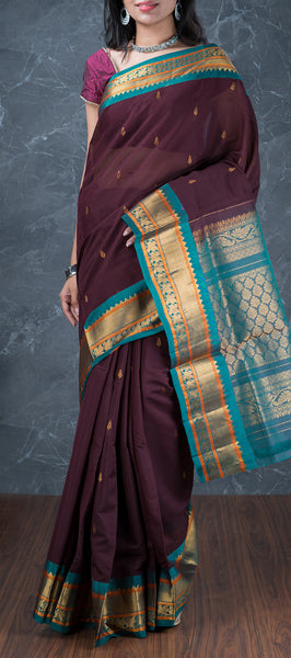 Wine Purple Silk Cotton Saree